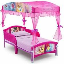 Details about Canopy Toddler Bed Disny Princess Little Girls for Kids Side Rails Pink Fast shi