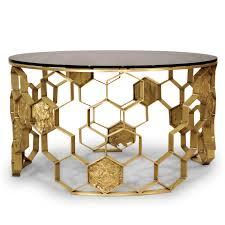 contemporary coffee table glass brass round manuka