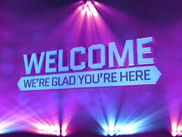Welcome Purple Stage Lights Welcome
