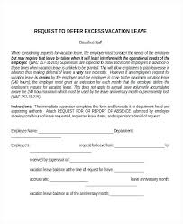 Letter Format For Vacation Leave Simple Vacation Request Letter Template Example Of Carryover