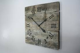 rustic wall clock large rustic wall clock gray washed color washed raw wood regarding large square