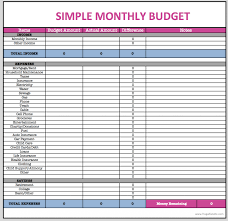 001 Template Ideascel Monthly Budget Free Simple Home