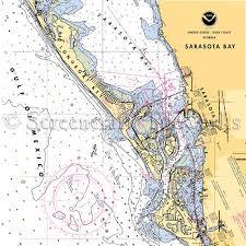 Tampa Bay Marine Chart Florida Long Boat Key Sarasota Bay Nautical Chart Decor