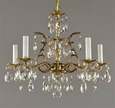spanish brass crystal chandelier c1950 vintage antique ceiling light french style