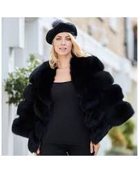 popski london the kensington fox fur jacket in midnight black lyst