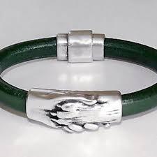 Jewelry   Guardian Paw In Hand Dark Green Leather Bracelet   Poshmark