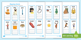Phonetic board game using ipa decoding. Free Rhyming Words Worksheet For Kids One Syllable Words