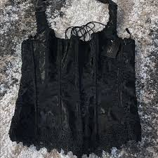 Fredrick S Of Hollywood Black Lace Corset New