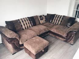 brown corner sofa swivel chair and footstool