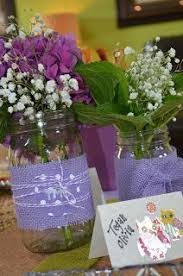 Decorating Mason Jars For Baby Shower Mason jar centerpieces Purple and green Baby shower Baby girl 58