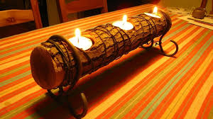 birch wood log candle holders
