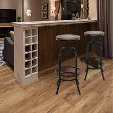 Ikayaa Bar Chairs Industrial Style Height Adjustable Swivel Bar Stool Natural Pinewood Top Kitchen Dining Breakfast Chair