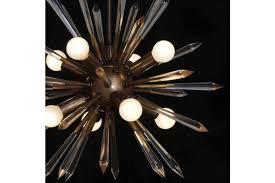mid century modern acrylic rock crystal brass sputnik chandelier light