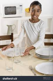 Kitchen Table Setting Girl Setting Kitchen Table Stock Photo 98252405 Shutterstock