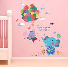 lovely cartoon elephant colorful balloon wall sticker diy removable wallpaper wall decor baby room home decoration wall decal