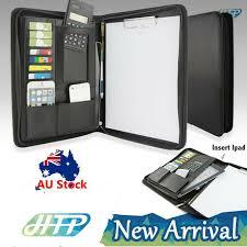 details about a4 business folder card folio organiser portfolio pu leather ipad case holder au