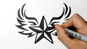 How To Draw A Star Design How To Draw A Nautical Star With Wings Tribal Style