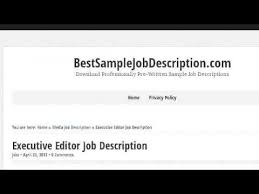 Executive Editor Job Description | Sifra.mx