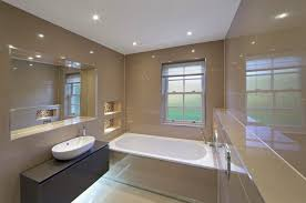 overhead bathroom lighting. view in gallery spotlights reflect the tile of a modern bathroom overhead lighting