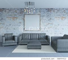 old brick wall loft interior with sofa