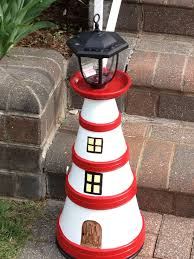 My Second Light House From Clay Pots They Are In The Front Of Our Maritime Gartendeko Basteln