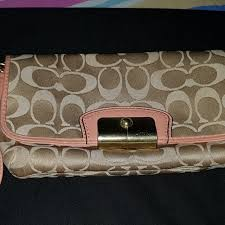 Authentic COACH KRISTIN SIGNATURE SATEEN LARGE FLAP WRISTLET, Luxury, Bags    Wallets on Carousell