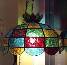 1970s stained glass hanging chandelier lamp
