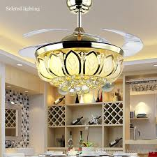 2018 42 Inch Ceiling Fan Crystal Chandelier Lotus Ceiling Light