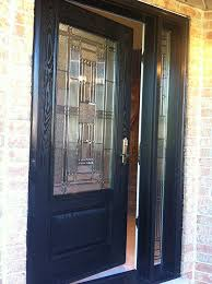 front doors stained glass woodgrain fiberglass single door with side lite inside view installed