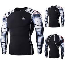 Mens <b>Quick</b> Dry <b>Skull</b> Arms <b>Printing</b> Fitness Long Sleeve T-shirt Skin ...