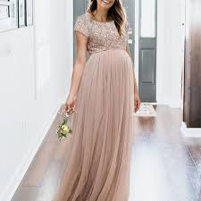 Maya Maternity Size Chart Maternity Maxi Tulle Dress With Tonal Delicate Sequins In
