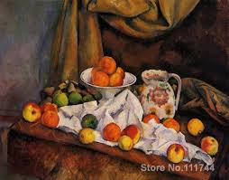 still life art impressionism fruit bowl pitcher and fruit paul cezanne paintings reion high quality hand