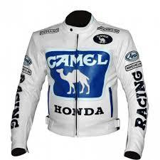 camel white honda motorbike leather jacket