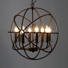 industrial black led orb chandelier 8 light metal hanging light with globe cage for kitchen restaurant