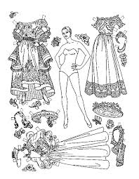 Paper Doll Coloring Pages Printable Worksheet Lovely Dress