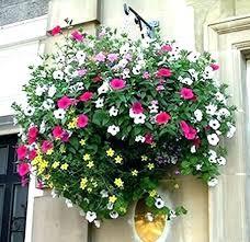 outdoor artificial hanging flower baskets plants garden flat steel silk flowers