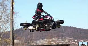 Lazareth's transforming, <b>flying motorcycle</b> demonstrates a stable hover