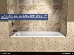 installation pureflo cable bath drain trim kohler