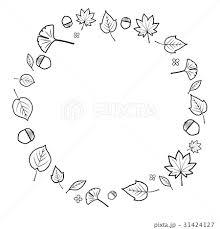 秋 紅葉 フレーム モノクロ 黒のイラスト素材 31424127 Pixta