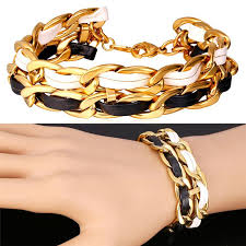 u7 rock chain leather bracelet for women men jewelry trendy 18k real gold plated cuban link chain mens bracelet gift canada 2019 from mgc8whole