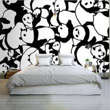 Custom Photo Wallpapers Murals 3D Modern Abstract Black White Panda For  Living Room