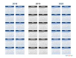 3 Year Calendar Printable Calendar 2018 2019 And 2020 3 Year Calendar Free