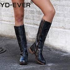 zapatos mujer shoes women winter faux leather knee high boots low heels platform buckle vintage riding boots chaussures femme cute shoes boots from gavingg