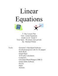linear equations grade level