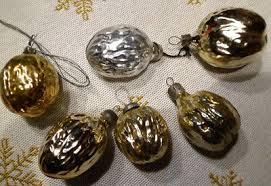 Alter Christbaumschmuck Christbaum Mehrere Nüsse Silber