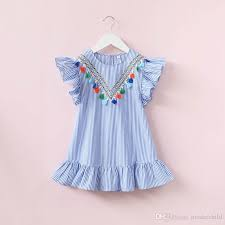 2018 2017 who children summer clothes baby fly sleeve striped falbala princess party dress kids soft cotton frock design from moderchild