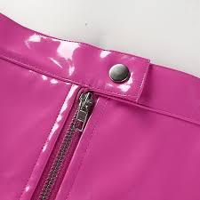 hot deal us 23 99 for boofeenaa zipper pocket pink pu leather skirt 2019 autumn winter clothes women skirts high waist candy color mini skirt c77 ac48