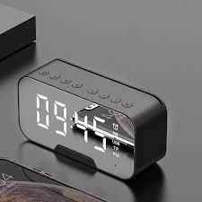 Çok fonksiyonlu ayna çalar saat Bluetooth hoparlör radyo ile ayna kablosuz  Subwoofer müzik çalar masa saati Alarm Clocks