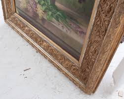 g corbier oil painting of lilac flowers with carved gilt frame for 4