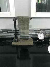 countertop hand towel stand brushed nickel industrial rustic single holder pipe